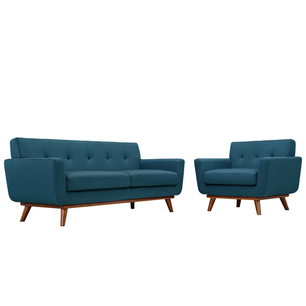 Engage Armchair and Loveseat Set of 2 - Azure