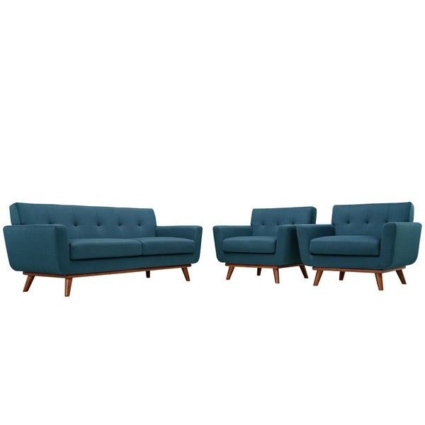 Engage Armchairs and Loveseat Set of 3 - Azure
