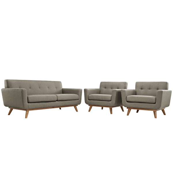 Engage Armchairs and Loveseat Set of 3 - Granite