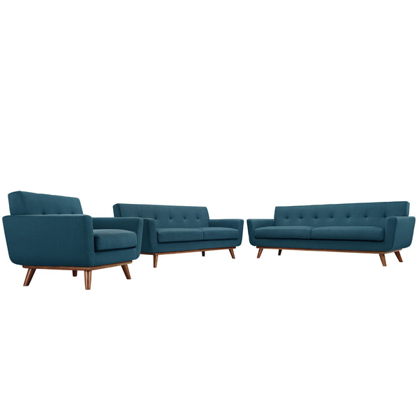 Engage Sofa Loveseat and Armchair Set of 3 - Azure