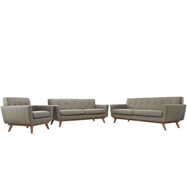 Engage Sofa Loveseat and Armchair Set of 3 - Granite