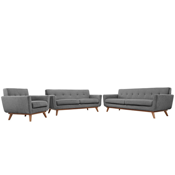 Engage Sofa Loveseat and Armchair Set of 3 - Gray