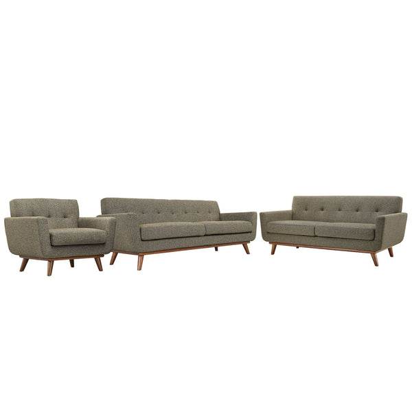 Engage Sofa Loveseat and Armchair Set of 3 - Oatmeal