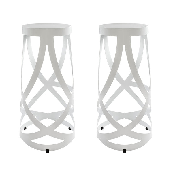 Ribbon Bar Stool Set of 2 - White