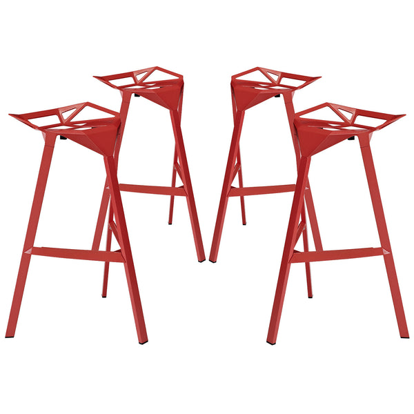 Launch Stacking Bar Stool Set of 4 - Red