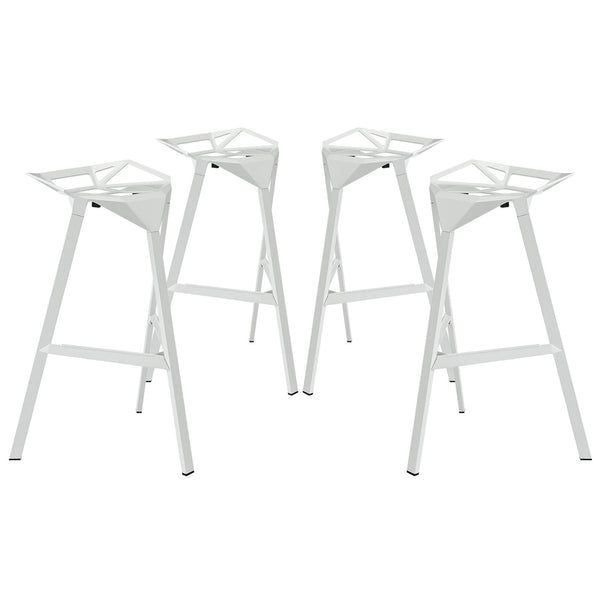 Launch Stacking Bar Stool Set of 4 - White