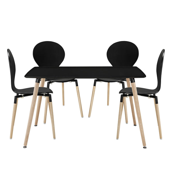 Path Dining Chairs and Table Set of 5 - Black