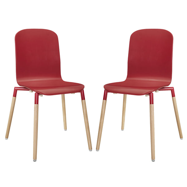 Stack Dining Chairs Wood Set of 2 - Red