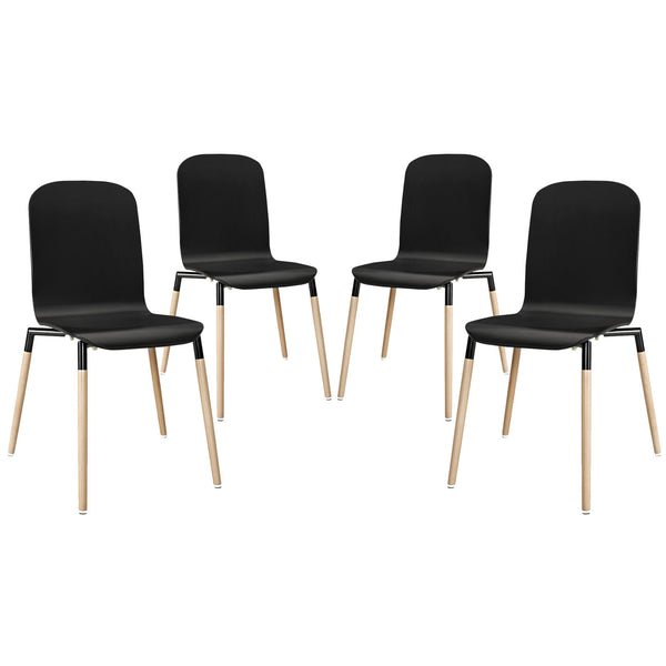 Stack Dining Chairs Wood Set of 4 - Black