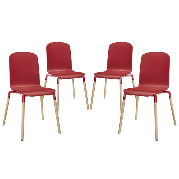 Stack Dining Chairs Wood Set of 4 - Red