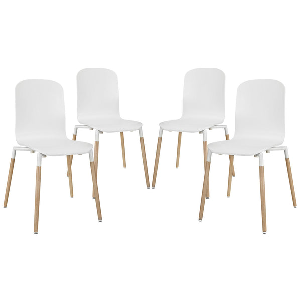 Stack Dining Chairs Wood Set of 4 - White