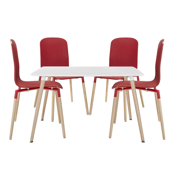 Stack Dining Chairs and Table Wood Set of 5 - Red