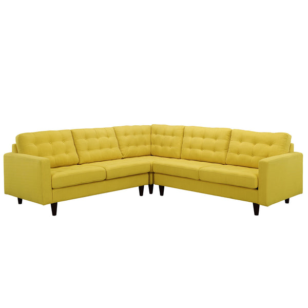 Empress 3 Piece Fabric Sectional Sofa Set - Sunny