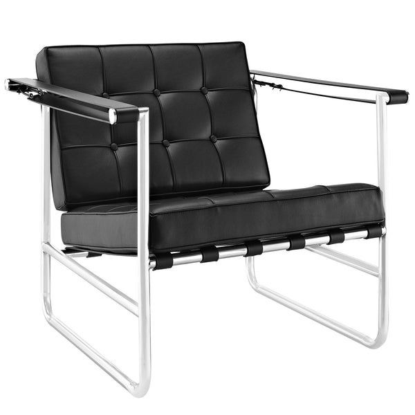 Serene Stainless Steel Lounge Chair - Black