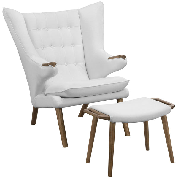 Bear Lounge Chair and Ottoman - Walnut White