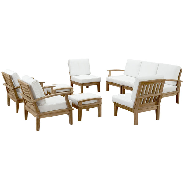 Marina 9 Piece Outdoor Patio Teak Sofa Set - Natural White