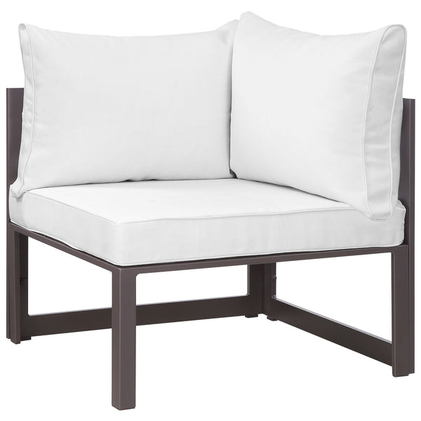 Fortuna Corner Outdoor Patio Armchair - Brown White