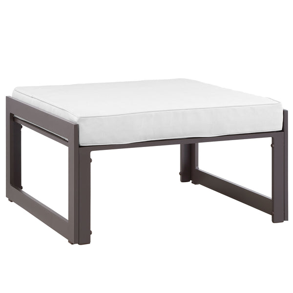 Fortuna Outdoor Patio Ottoman - Brown White
