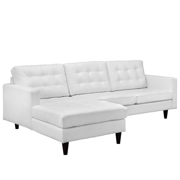 Empress Left-Facing Leather Sectional Sofa - White