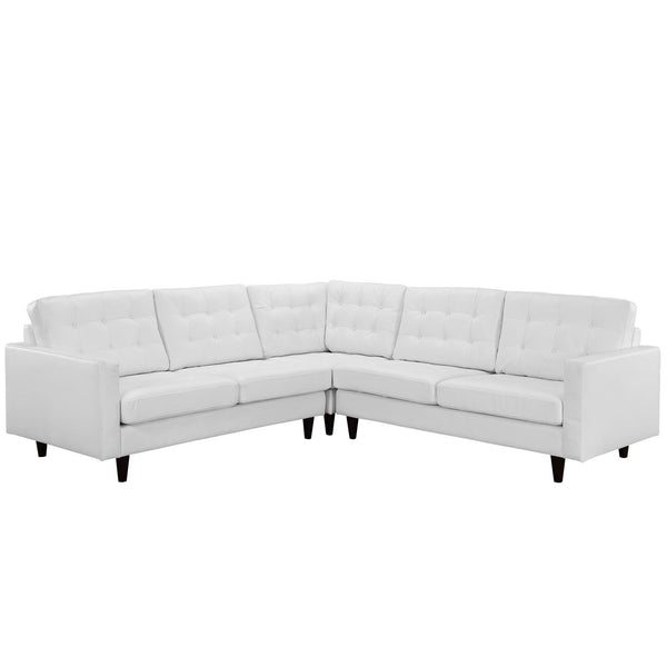 Empress 3 Piece Bonded Leather Sectional Sofa Set - White