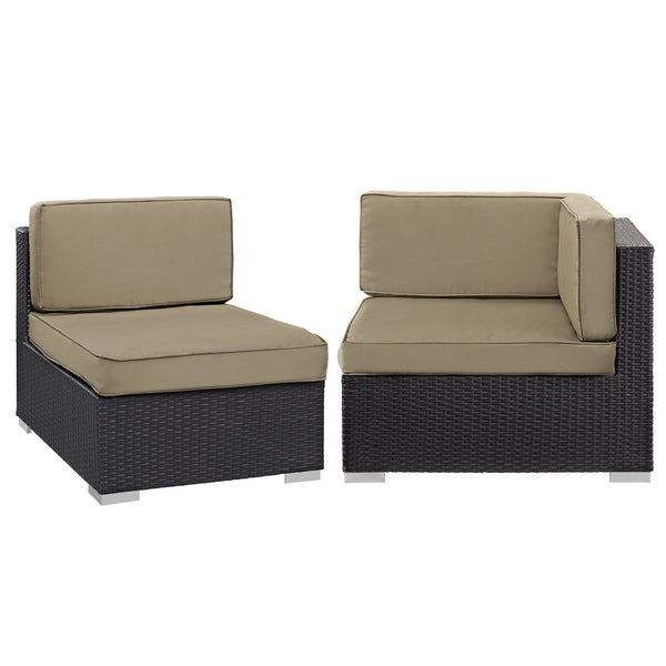 Gather Corner and Middle Outdoor Patio Sectional Set - Espresso Mocha