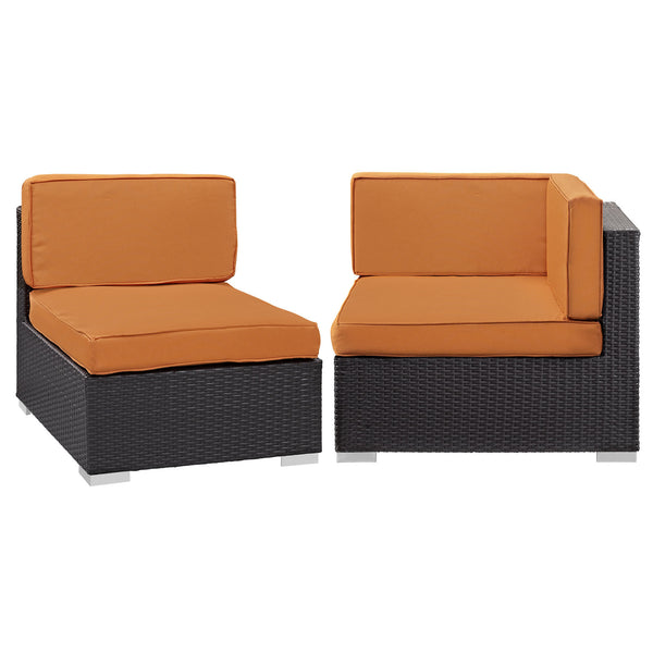 Gather Corner and Middle Outdoor Patio Sectional Set - Espresso Orange