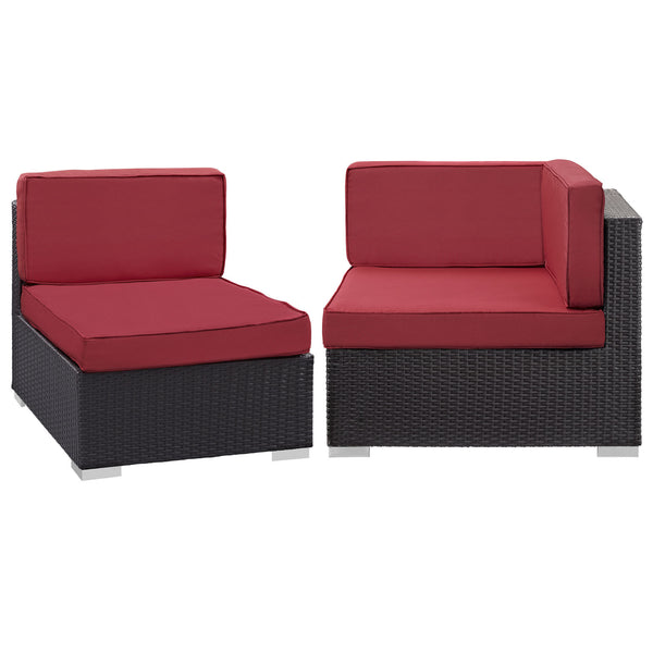 Gather Corner and Middle Outdoor Patio Sectional Set - Espresso Red