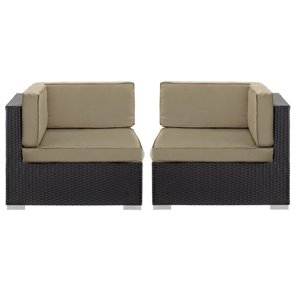 Gather Corner Sectional Outdoor Patio Set of Two - Espresso Mocha