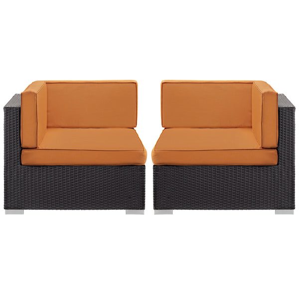 Gather Corner Sectional Outdoor Patio Set of Two - Espresso Orange