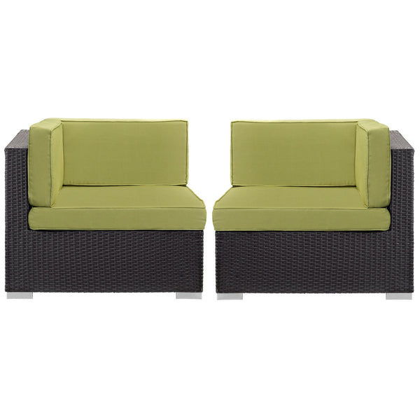 Gather Corner Sectional Outdoor Patio Set of Two - Espresso Peridot