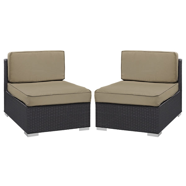 Gather Armless Chair Outdoor Patio Set of Two - Espresso Mocha