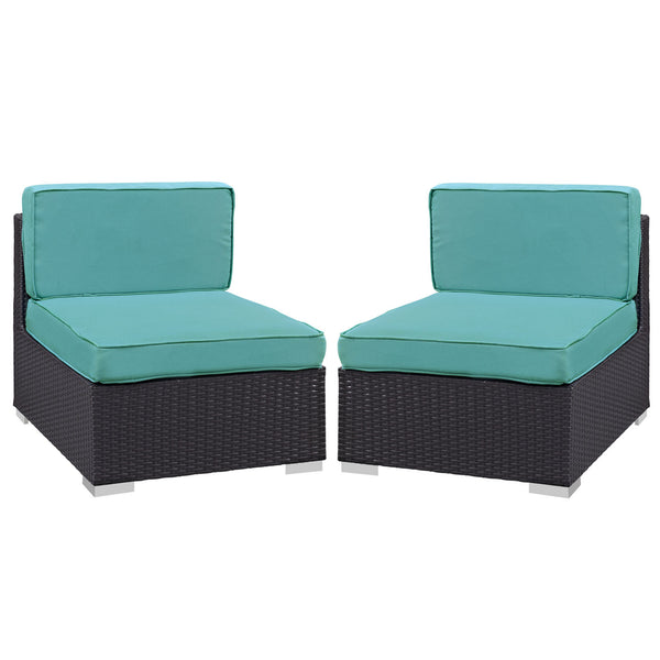 Gather Armless Chair Outdoor Patio Set of Two - Espresso Turquoise