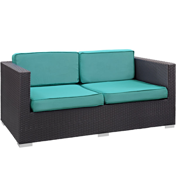 Gather Outdoor Patio Loveseat - Espresso Turquoise