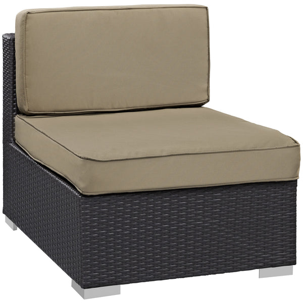 Gather Armless Outdoor Patio Sectional - Espresso Mocha