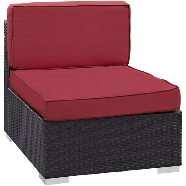 Gather Armless Outdoor Patio Sectional - Espresso Red