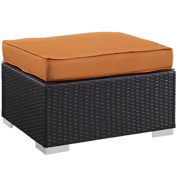 Gather Outdoor Patio Ottoman - Espresso Orange