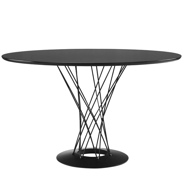 Cyclone Wood Top Dining Table - Black