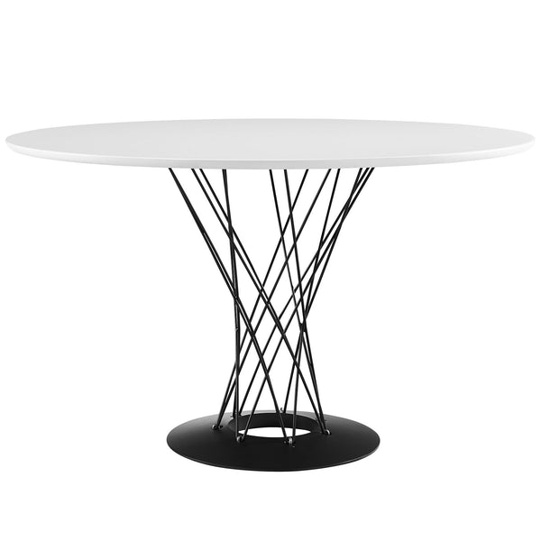 Cyclone Wood Top Dining Table - White