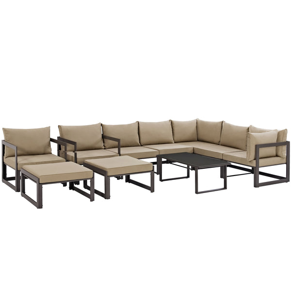 Fortuna 10 Piece Outdoor Patio Sectional Sofa Set - Brown Mocha