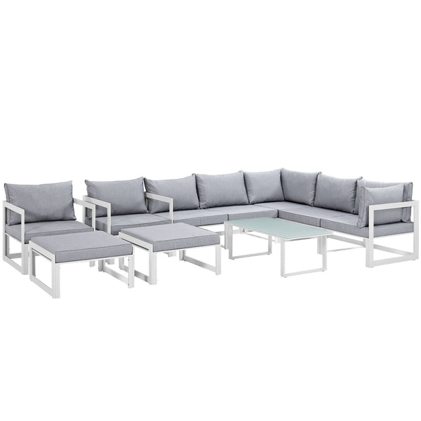 Fortuna 10 Piece Outdoor Patio Sectional Sofa Set - White Gray