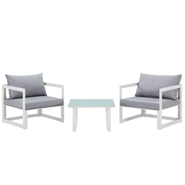 Fortuna 3 Piece Outdoor Patio Sectional Sofa Set - White Gray