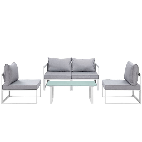 Fortuna 5 Piece Outdoor Patio Sectional Sofa Set - White Gray