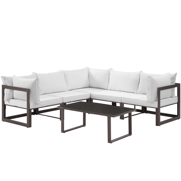 Fortuna 6 Piece Outdoor Patio Sectional Sofa Set - Brown White