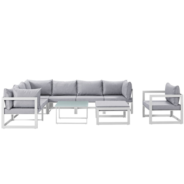 Fortuna 9 Piece Outdoor Patio Sectional Sofa Set - White Gray