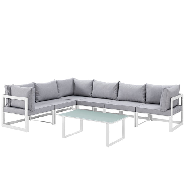 Fortuna 7 Piece Outdoor Patio Sectional Sofa Set - White Gray