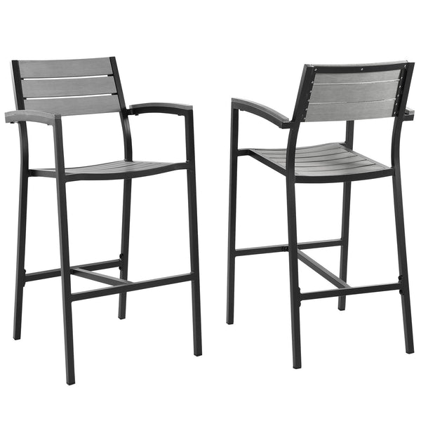 Maine Bar Stool Outdoor Patio Set of 2 - Brown Gray