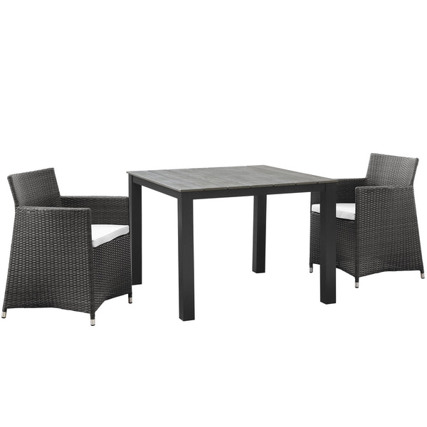 Junction 3 Piece Outdoor Patio Wicker Dining Set - Brown White