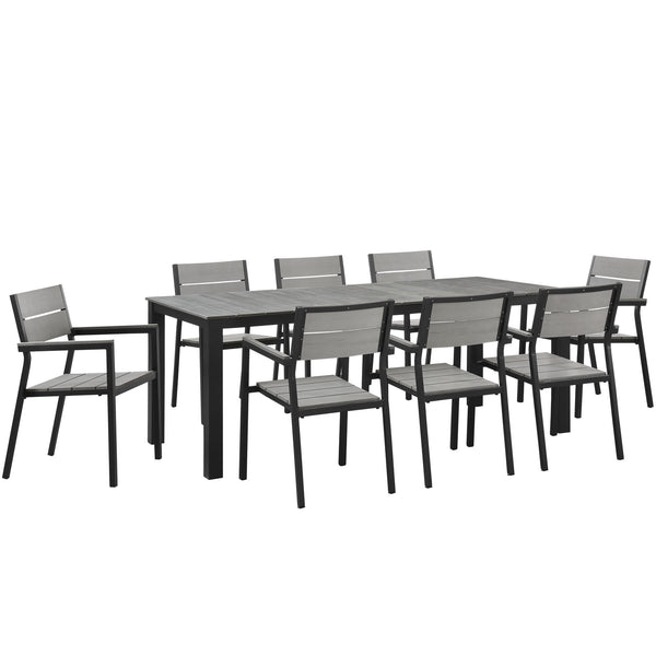 Maine 9 Piece Outdoor Patio Dining Set - Brown Gray