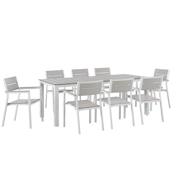 Maine 9 Piece Outdoor Patio Dining Set - White Light Gray