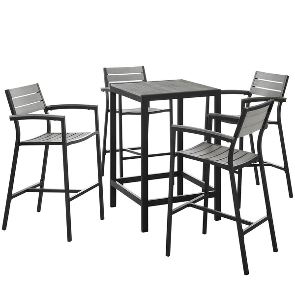 Maine 5 Piece Outdoor Patio Bar Set - Brown Gray